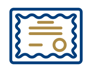 Icon of certificate with FranServe colors: navy blue and gold.